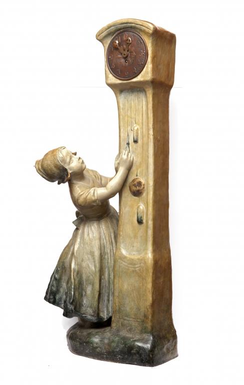 Nena amb Rellotge. Terracota policromada. Friedrich Goldscheider. 1905